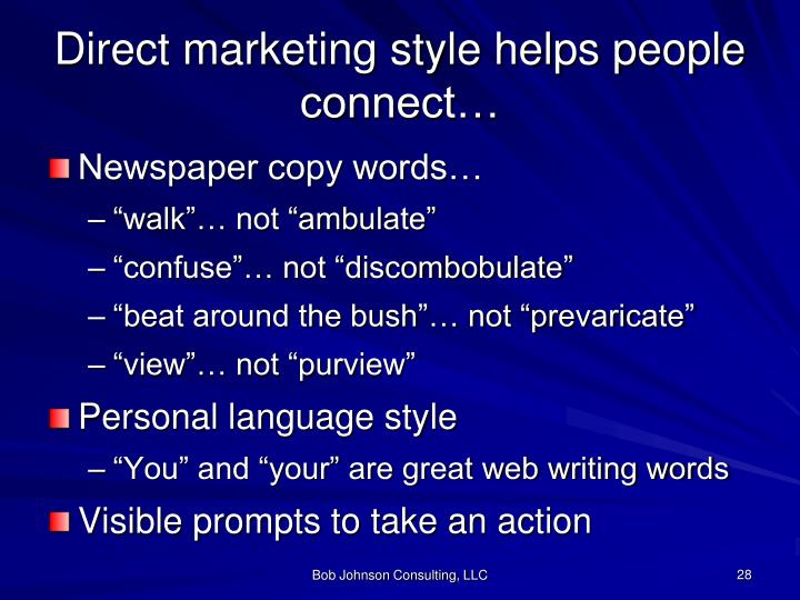 Direct marketing style helps people connect…