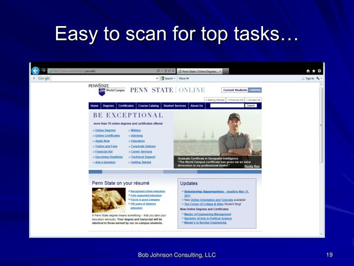 Easy to scan for top tasks…