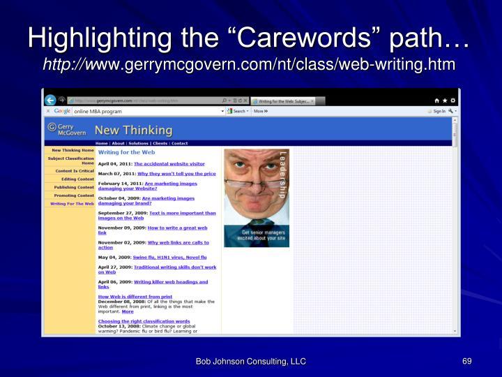 "Highlighting the ""Carewords"" path…"