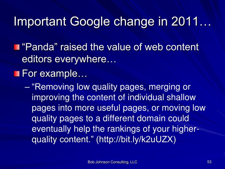 Important Google change in 2011…