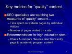 key metrics for quality content