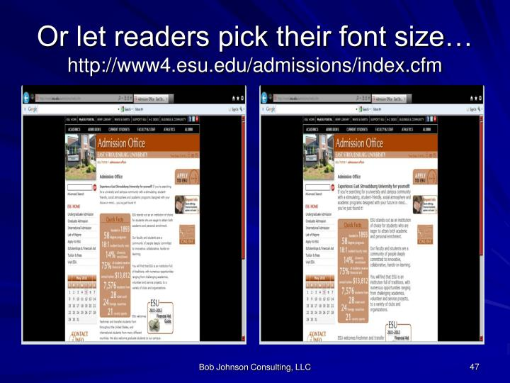 Or let readers pick their font size…