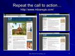 repeat the call to action http www mbaregis com
