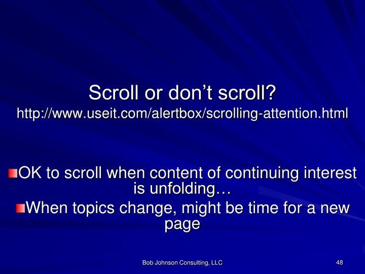 Scroll or don't scroll?