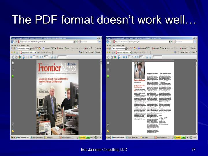 The PDF format doesn't work well…