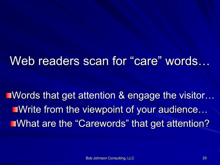 """Web readers scan for """"care"""" words…"""