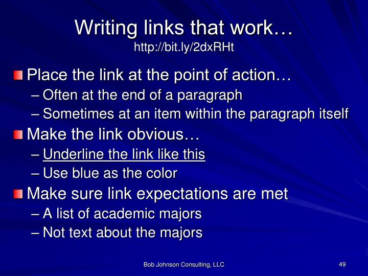 Writing links that work…