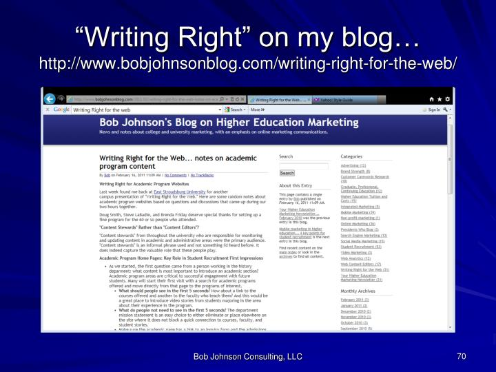 """""""Writing Right"""" on my blog…"""
