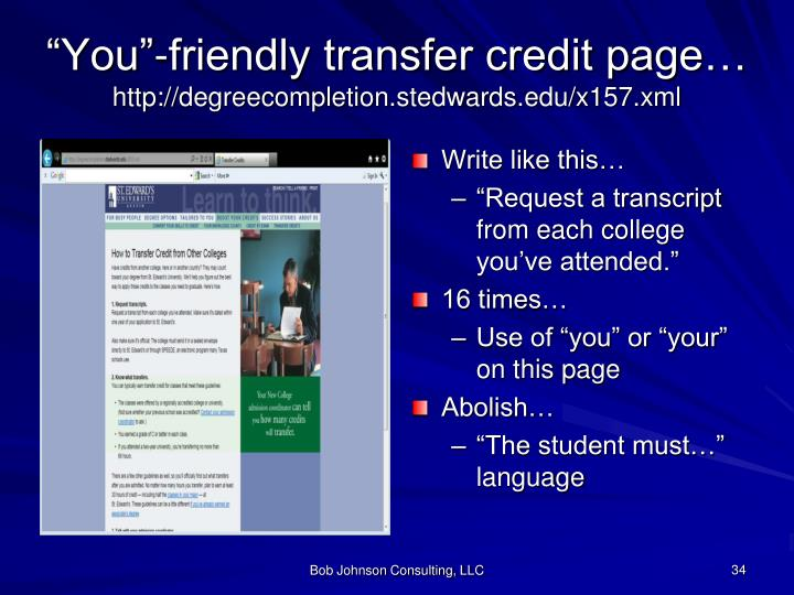 """""""You""""-friendly transfer credit page…"""