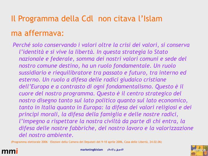Il Programma della Cdl  non citava l'Islam