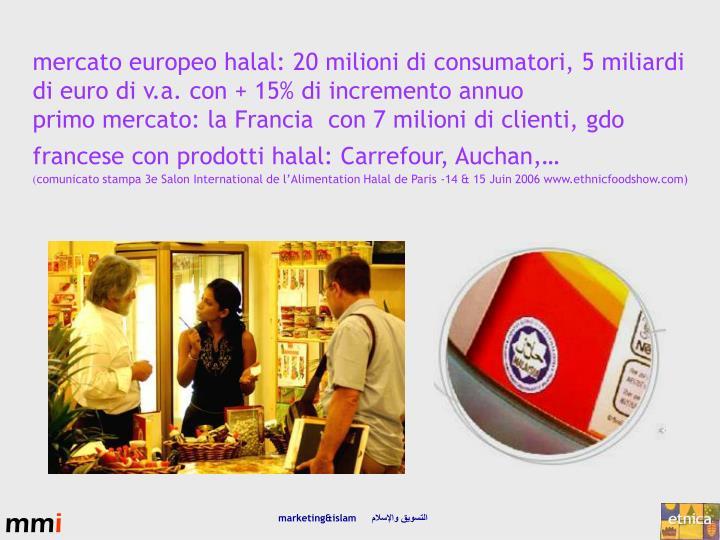 mercato europeo halal: 20 milioni di consumatori, 5 miliardi di euro di v.a. con + 15% di incremento annuo
