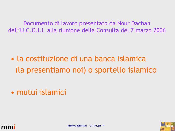 la costituzione di una banca islamica
