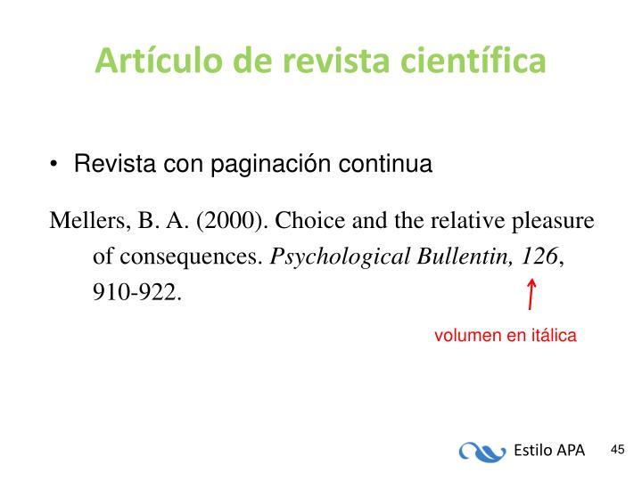 Artículo de revista científica
