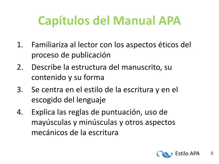 Capítulos del Manual APA