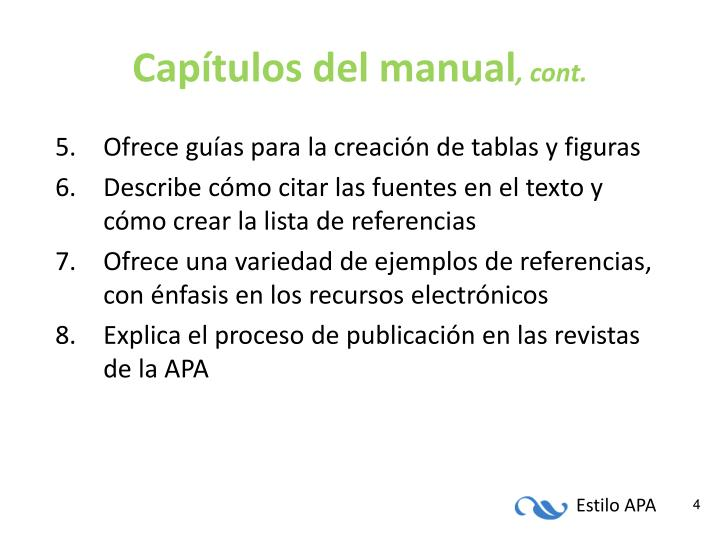 Capítulos del manual