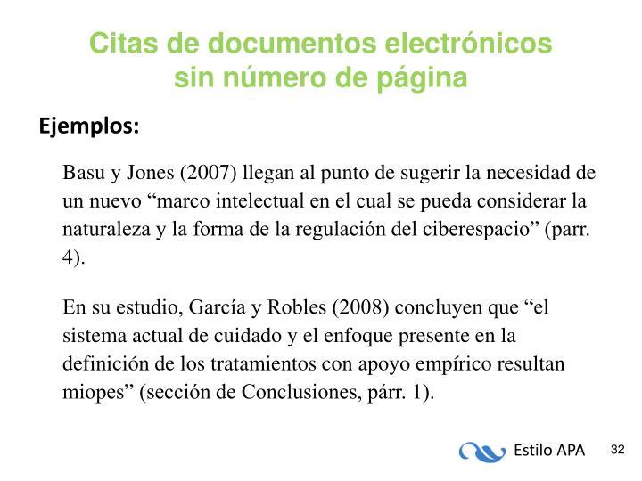 Citas de documentos electrónicos