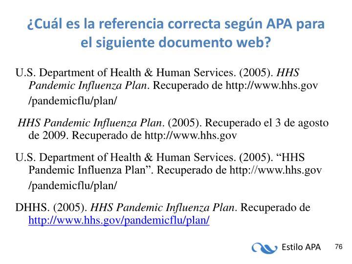 ¿Cuál es la referencia correcta según APA para el siguiente documento web?