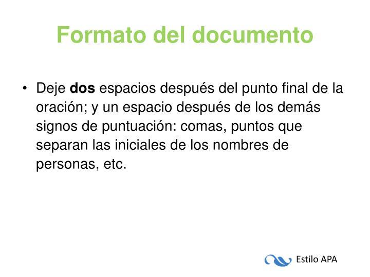 Formato del documento