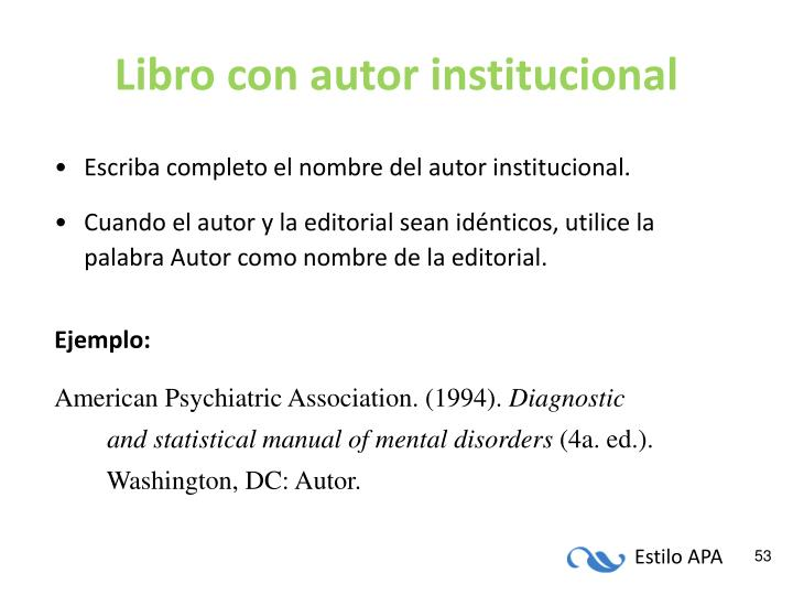 Libro con autor institucional