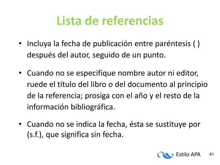 Lista de referencias