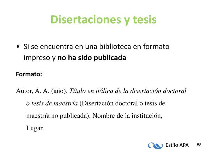 Disertaciones y tesis