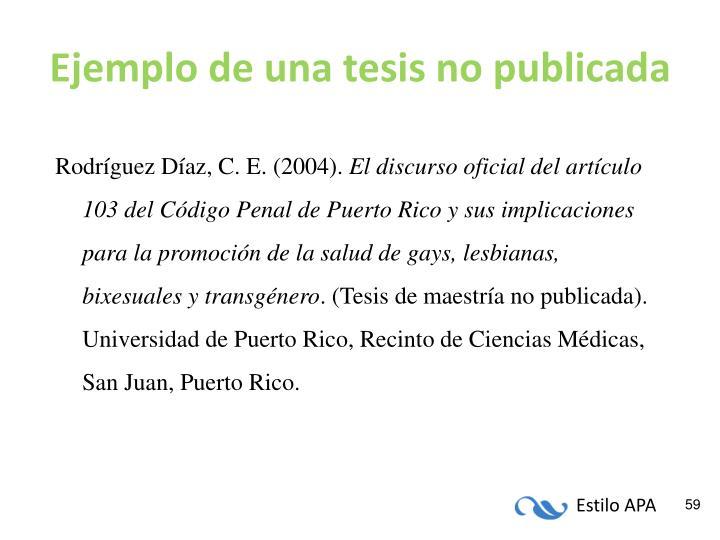 Ejemplo de una tesis no publicada