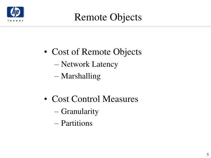 Cost of Remote Objects
