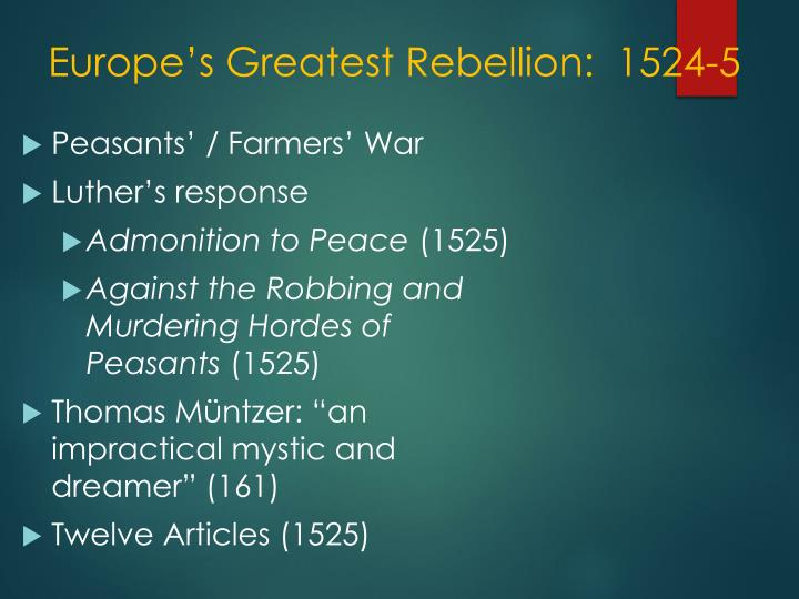 Europe's Greatest Rebellion:  1524-5