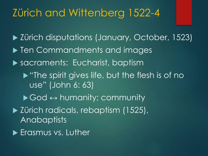 Zürich and Wittenberg 1522-4