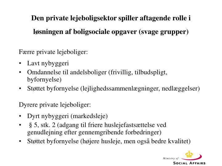 Den private lejeboligsektor spiller aftagende rolle i løsningen af boligsociale opgaver (svage grupper)