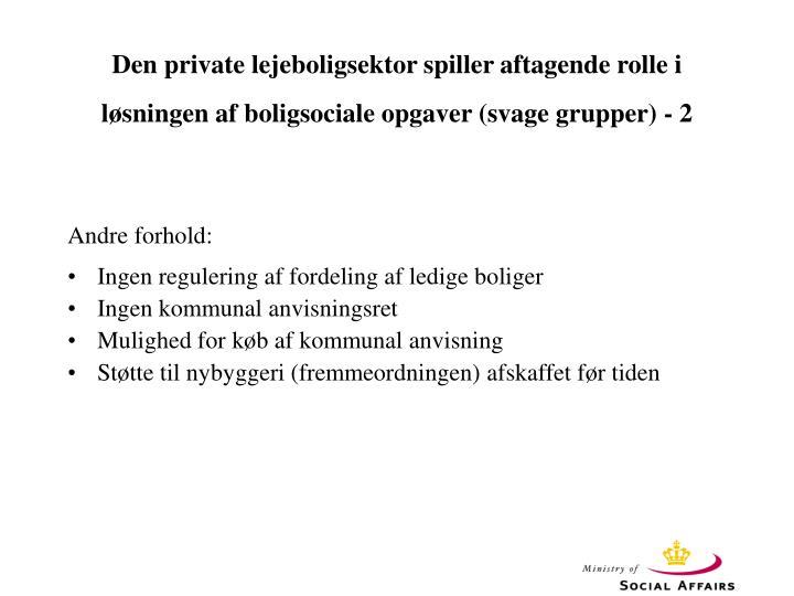 Den private lejeboligsektor spiller aftagende rolle i løsningen af boligsociale opgaver (svage grupper) - 2