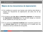 mejora de los mecanismos de depreciaci n