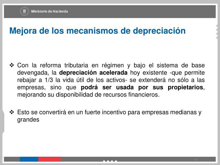 Mejora de los mecanismos de depreciación