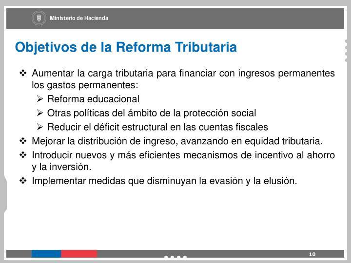 Objetivos de la Reforma Tributaria
