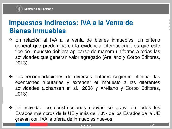 Impuestos Indirectos: IVA a la Venta de Bienes Inmuebles