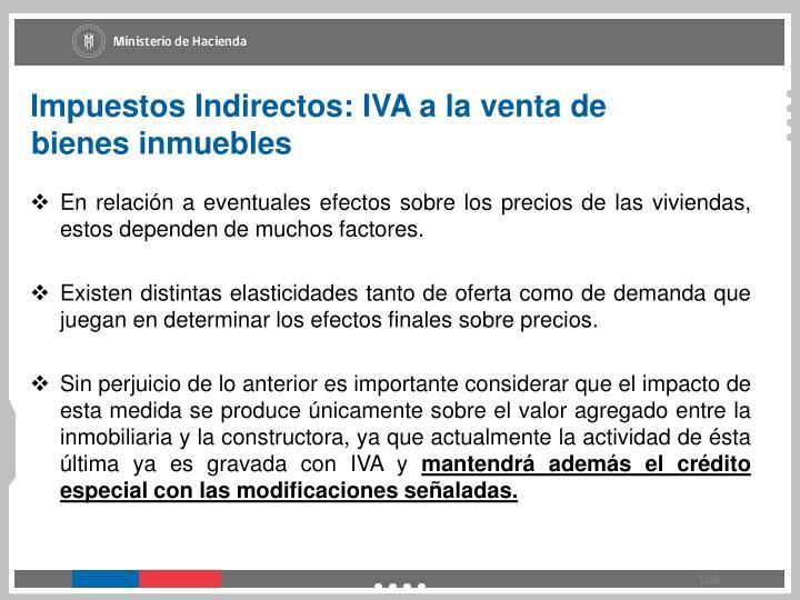 Impuestos Indirectos: IVA a la