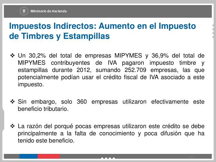 Impuestos Indirectos: Aumento en el Impuesto de Timbres y Estampillas