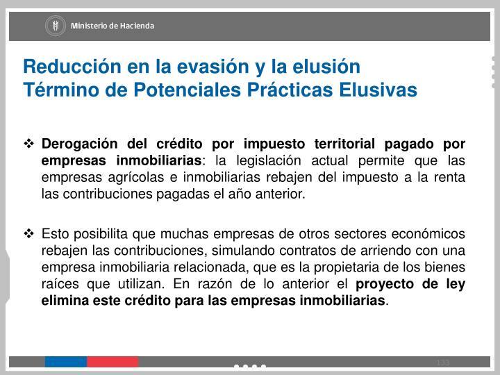 Reducción en la evasión y la elusión