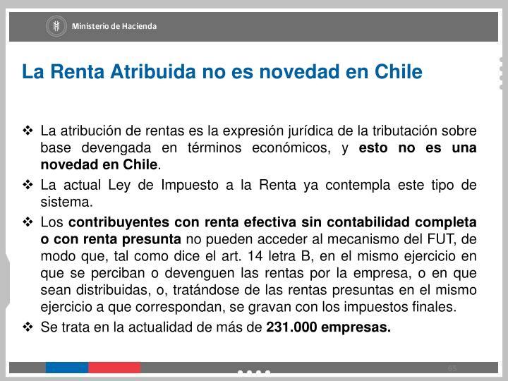 La Renta Atribuida no es novedad en Chile