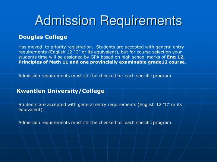 Admission Requirements