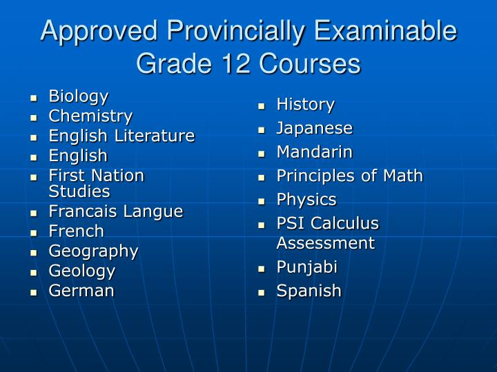 Approved provincially examinable grade 12 courses