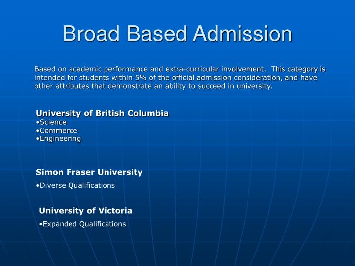 Broad Based Admission