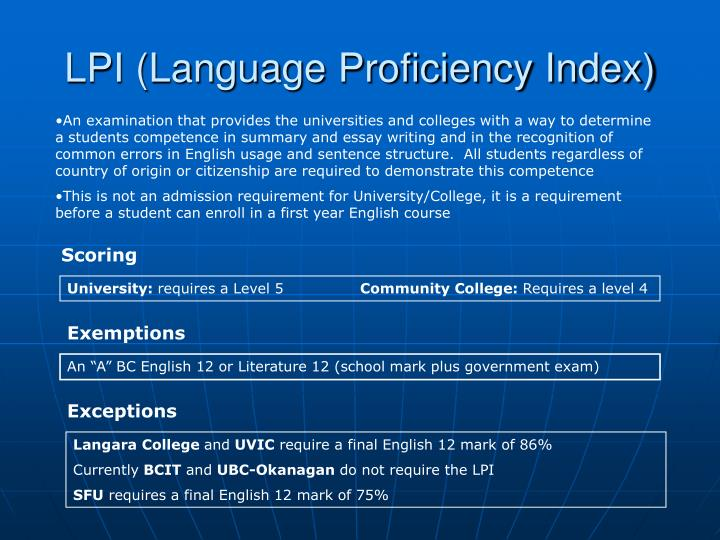 LPI (Language Proficiency Index)