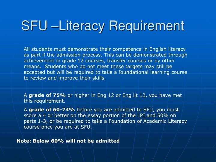 SFU –Literacy Requirement