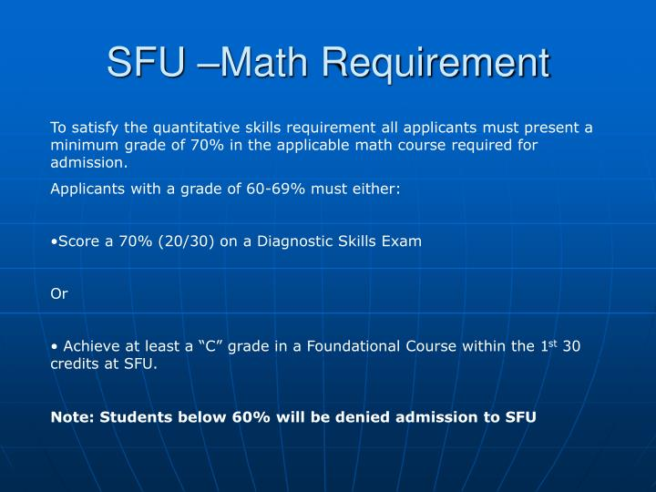 SFU –Math Requirement