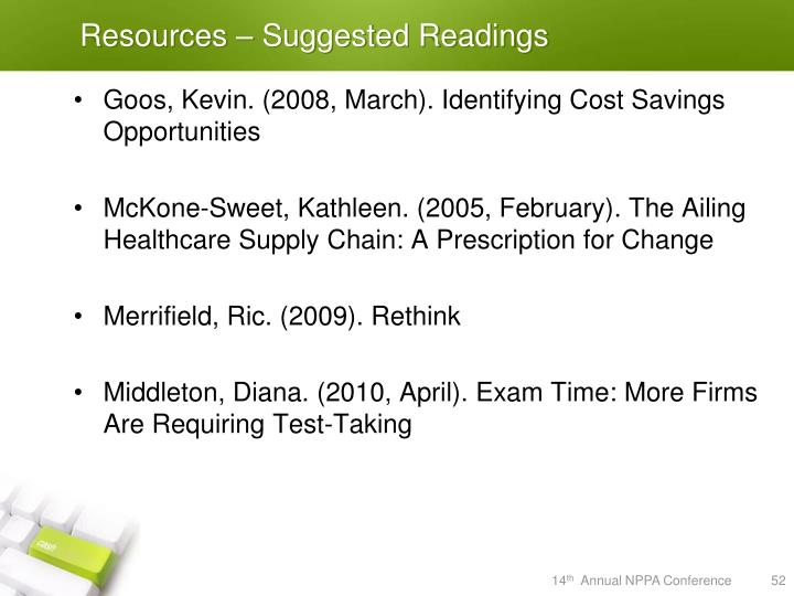 Resources – Suggested Readings