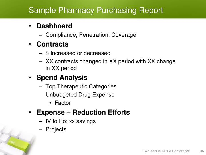 Sample Pharmacy Purchasing Report