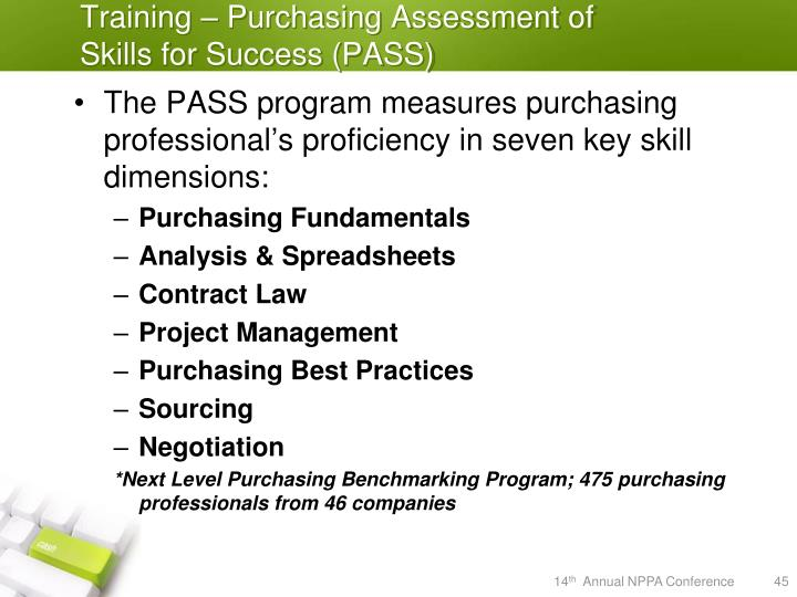 Training – Purchasing Assessment of Skills for Success (PASS)