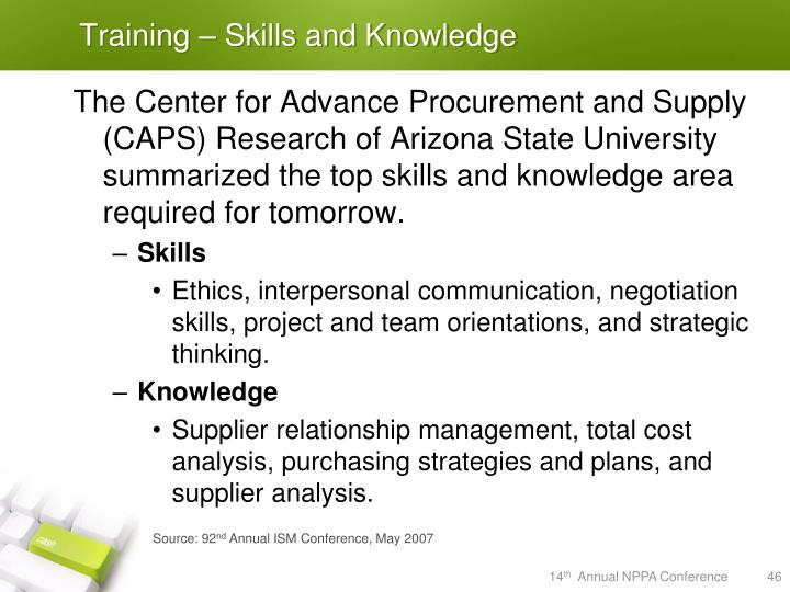 Training – Skills and Knowledge