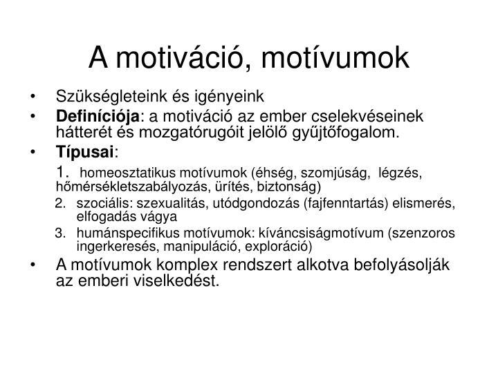 A motiváció, motívumok
